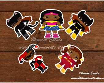 10- Afro-Superhero 4 inch diecuts set 2