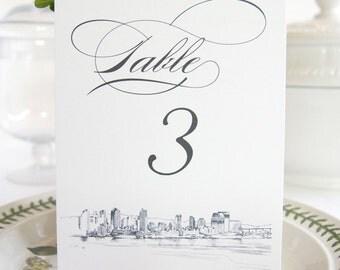 San Diego Skyline Table Numbers (1-10)