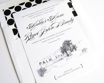 Palm Springs Skyline Wedding Invitations Package (Sold in Sets of 10 Invitations, RSVP Cards + Envelopes)