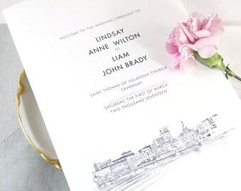 Savannah Skyline Wedding Programs (set of 25 cards)