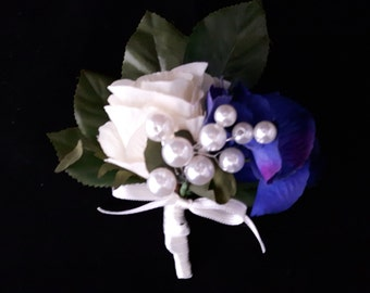 Beautiful Mother of the Brides Wedding Corsage - Ivory Satin Rose, Blue Hydrangea, Pearls and Foliage, Finished with Ivory Satin Ribbon