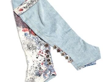 Reversible denim leggings