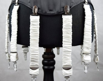 Detachable Silk Covered Suspenders - Ivory and Silver (Set of 10)