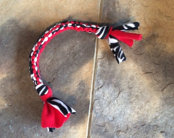 Dog Tug of War Chew Toy Fleece Knotted Dog Toy Red White and Black Zebra Print Ready To Ship