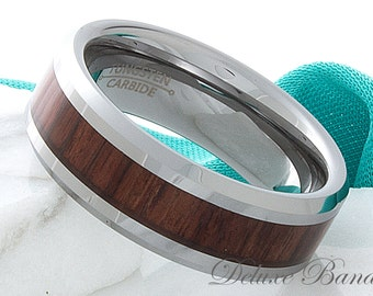 Tungsten Ring Wood Tungsten Wedding Band 8mm Beveled Edge Mahogany Wood Inlay Anniversary Promise Engagement Grooms Ring Mens Womens Band