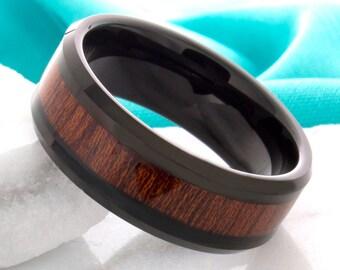 Tungsten Wood Wedding Band,Tungsten Wood Wedding Ring,Black Tungsten Ring,Tungsten Wedding Ring,Mens Tungsten Band,7mm,Wood Anniversary Ring