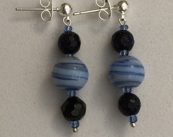 Hand Crafted Blue and Goldstone Beaded Earrings.