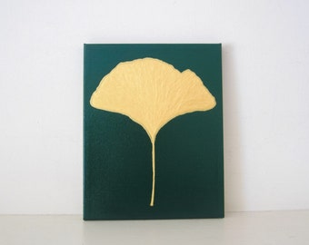GINKGO LEAF - REDUCED - Gold Ginkgo Leaf Painting- Gold Ginkgo Leaf Art - Ginkgo Leaf Wall Art - Gold Ginkgo Decor - Green Ginkgo Print