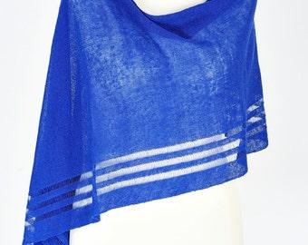 Blue linen poncho, linen shawl, linen scarf, blue shrug, cover up, linen knit, top, boho, pullover, summer poncho, wedding shawl, evening