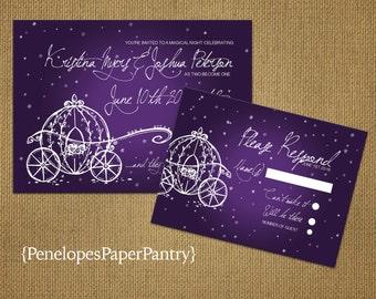 Purple Cinderella Fairy Tale Wedding Invitation,Cinderella's Carriage,Shimmery,Elegant,Custom,Printed InvitationsWedding Set,Optional RSVP