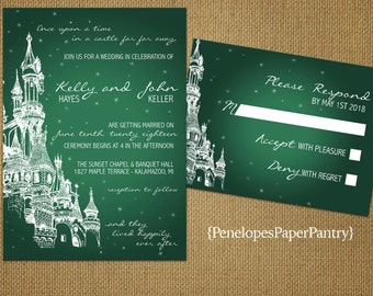 Emerald Green Fairy Tale Theme Wedding Invitations,Castle,Shimmery,Happily Ever After,Romantic,Opt RSVP Card,Customizable,White Envelopes