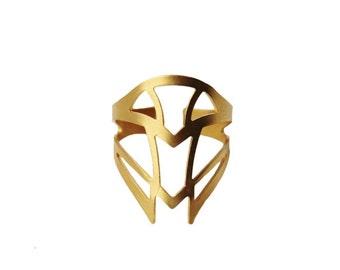 Art deco Golden brass Adjustable ring