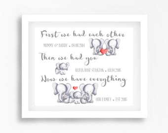 First We Had Each Other Print, Neutral Baby Gift, Nursery Quote Print, Elephant Nursery Art, Personalised Baby Print, Christening Gift