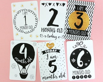 Printable Black, White & Gold Baby Milestone Cards