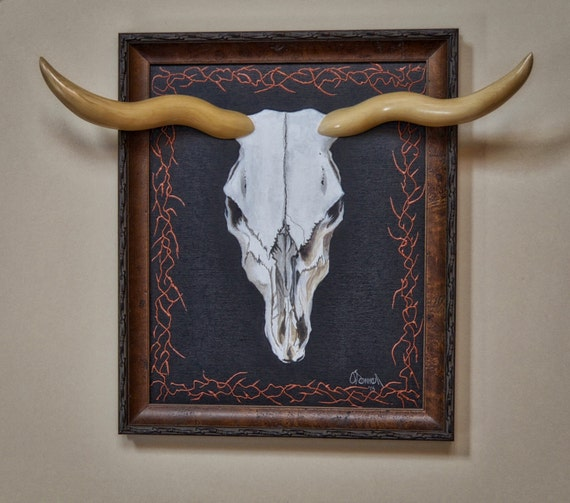 Unique Handmade Wall Decor : Unique handmade wall art original cow skull by enigmaskulls