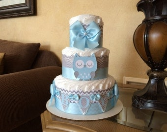 Owl baby shower centerpiece /Blue and grey baby shower centerpiece/Blue and grey owl baby shower/Owl diaper cake/Boy Owl diaper cake