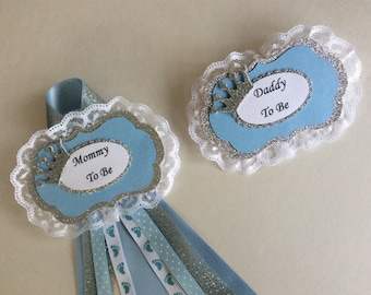 Prince baby shower corsages/Prince baby shower corsage set/Mommy to be and Daddy to be corsage set/Boy baby shower corsage/Boy baby shower