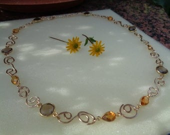 Gold chain, 585 gold filled, with Citrine and smoky quartz, in lovingly handmade Freesstyle