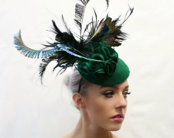 Bespoke Emerald Peacock  Fascinator/Headpiece - Wedding & Races Ascot, Kentucky, Dubai, Melbourne Cup