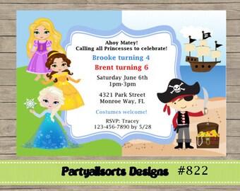 DIY - Rapunzel/Elsa/Belle/Princess and Pirate Invitation Cards