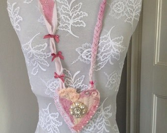 """Pink textile necklace """"heart"""""""