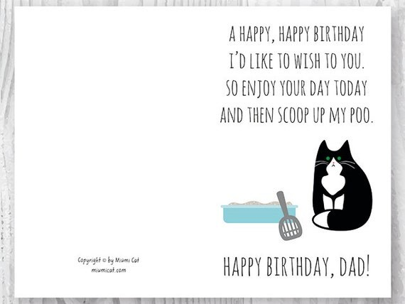 Printable Funny Birthday Cards Black and White Cat Cards Cat