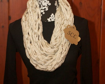 Cream Speckled Knit Infinity Scarf