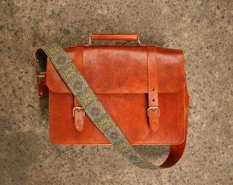 Leather Briefcase Satchel Messenger Cognac/Blue