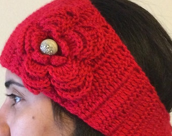 Woman 's  Chunky knit headband and ears warmer red headband -A finished Product