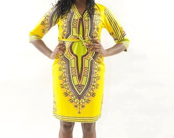Yellow Traditional African Print dress