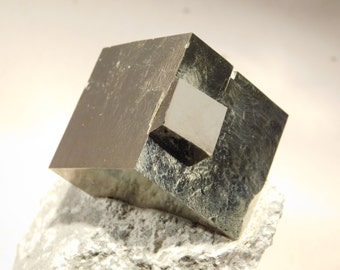 A BIG! 100% Natural Pyrite Crystal Cube TWIN! on Matrix From Spain 560gr e