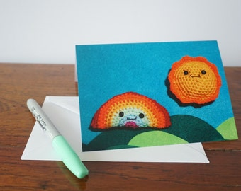Rainbow card, sunshine card, Summer, greeting card, birthday card, thank you card