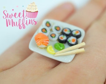 ring sushi,Miniature Food, Polymer Clay Miniatures, Fake Food Miniature,sweet jewelry