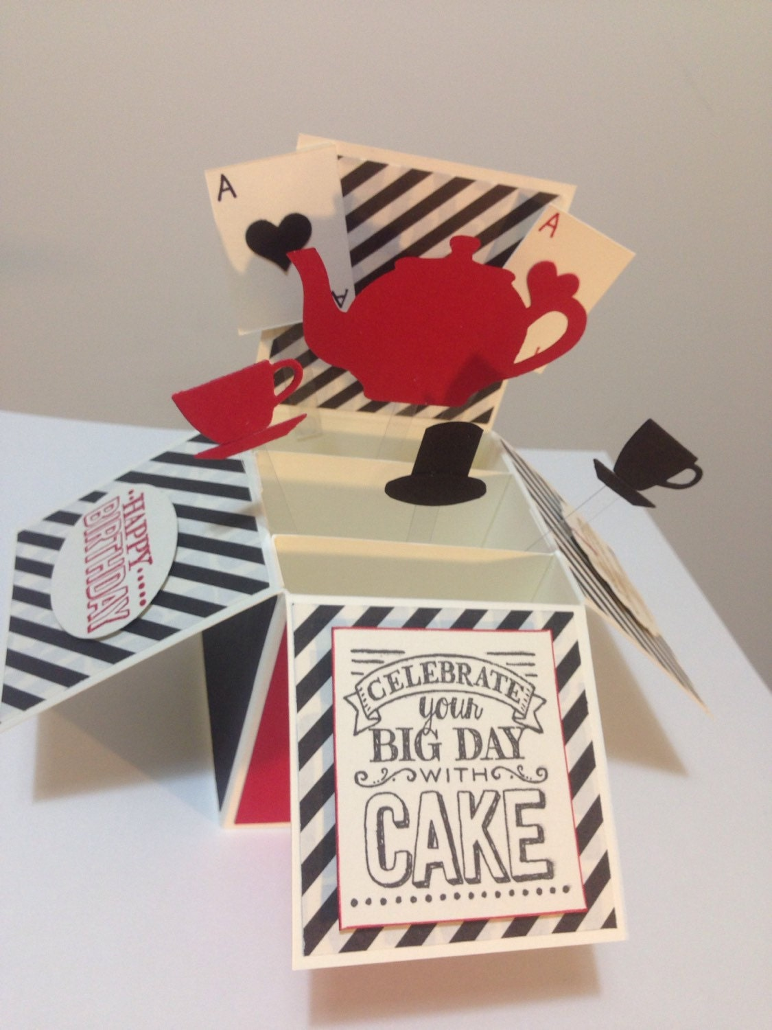 Birthday Cards Box ~ Handmade happy birthday card in a box afternoon tea party