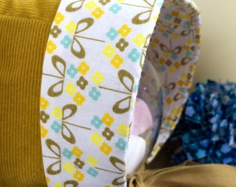 Vintage bonnet - lapel baby's cap - handmade in france - velvet and cotton - oekotex - stylized flowers print - white, mustard, yellow