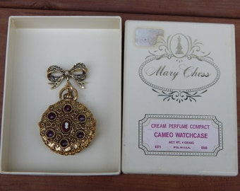 Vintage Cameo Watchcase Cream Perfume Compact / Perfume Compact Brooch Necklace by MARY CHESS in Original Box