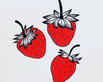 Strawberries (7x7 print)