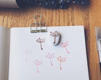dandelion hand carved rubber stamp.dandelion stamp.garden stamp.