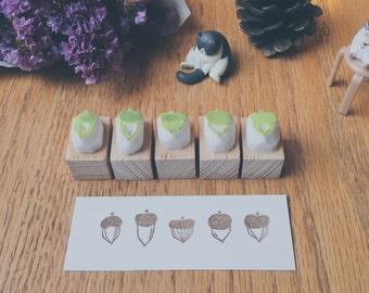 acorn hand carved rubber stamp, set of 5