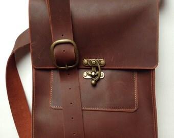 Leather messenger bag, leather cross body bag, distressed leather cross body bag, brown leather bag