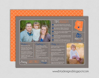 Year in Review Infographic Card, Christmas Card, Holiday Card, New Year's Card, Photo Card, Digital Design, Holiday Card #18