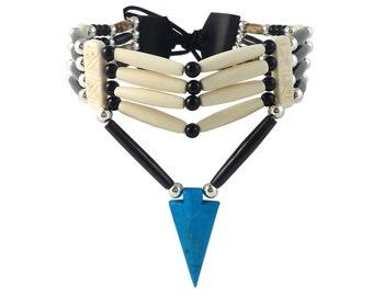 Handmade Traditional 4 Row Buffalo Bone Hairpipe Tribal Choker Necklace with Arrowhead Pendant