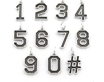 Sterling silver 925 Number charm bracelet Numbers charm pendant with open jump ring hashtag charm # (S-26)