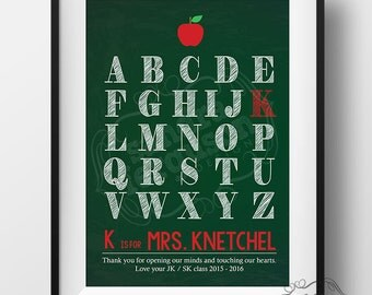 8 x 10 Personalized Alphabet Teacher Printable Wall Art | Teacher Gift - DIGITAL FILE