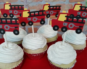 Fire Truck Happy Birthday Cupcake Toppers, Fire Truck Themed Birthday Cupcake Toppers
