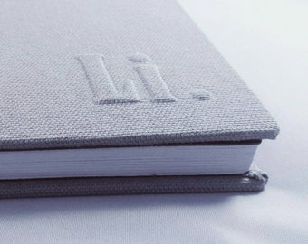 A5 grey personalized initials notebook with blank white paper