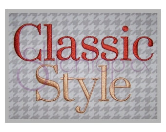"Classic Style Embroidery Monogram Set  .5″ 1"" 1.5"" 2″ 2.5""- Machine Embroidery Monogram Font Numbers Punctuation Alphabet Instant Download"