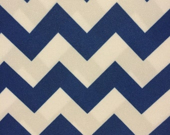 Royal Blue White Chevron Indoor Outdoor Upholstery Drapery Fabric - Sold By The Yard - 60""
