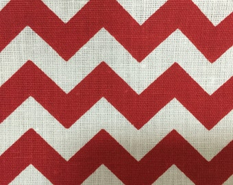 """Red White Chevron Zig Zag Print Poly Cotton Print Fabric - Sold By The Yard -  59"""""""