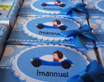 Premium Wrapped Belgian Chocolate Baby Shower or Wedding Favors in Milk or Dark Chocolate